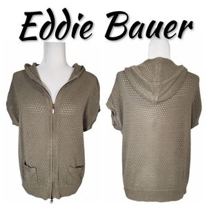 🆕️ Eddie Bauer Open Knit Hooded Linen Zip-Up